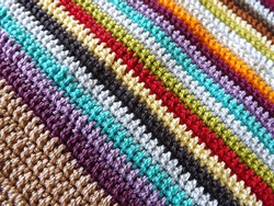 Colorful rows of double crochet stitch. Double crochet is one of basic stitches in crocheting.
