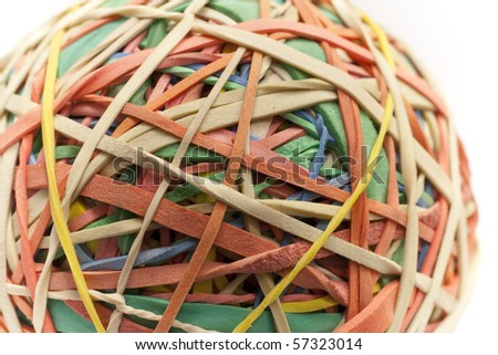 Colorful rubber band ball closeup with a white background