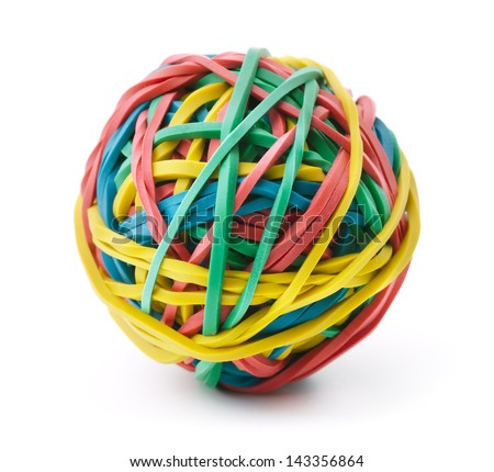 Colorful rubber band ball isolated on white stock photo