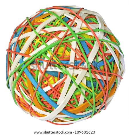 Colorful rubber band ball isolated with clipping path on white background