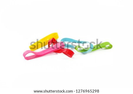 colorful rubble hair band or rubble band isolated on white background rubber band,colorful rubber band,rubber band,rubber band #1276965298