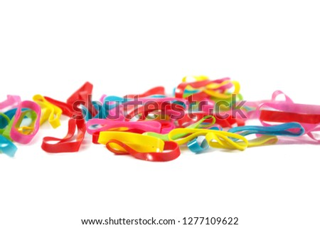 colorful rubble hair band or rubble band isolated on white background rubber band,colorful rubber band,rubber band,rubber band #1277109622