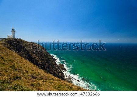 Colorful, Rugged, Rocky Coastline of Byron Bay Lighthouse New South Wales AU