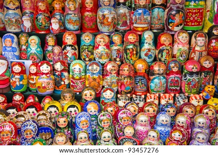 Colorful Russian nesting dolls at the market.