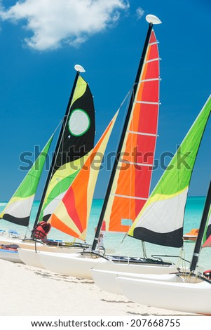 Colorful sailboats on a beautiful beach in Cuba #207668755