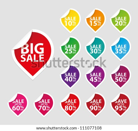 Colorful sale tags icon set