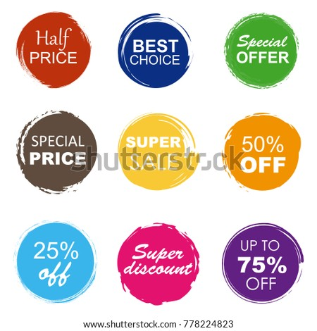Colorful sale tags in grunge style. Super sale, special offer, special price, best choice. #778224823