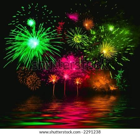 Colorful salute. Festival of fireworks. Illustration