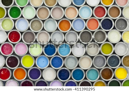 Colorful sample paint pots
