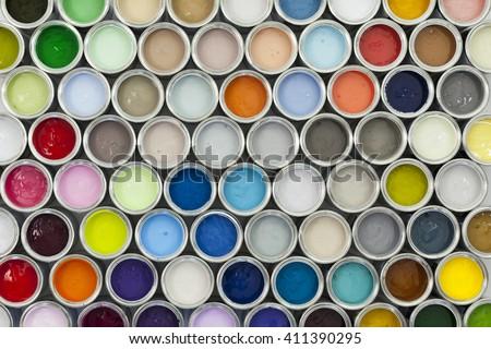 Colorful sample paint pots
