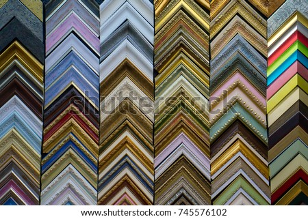Colorful samples of picture frames molding