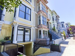 Colorful San Francisco Victorian homes in the Mission District.