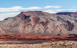 Colorful sandstone strata at Goosenecks State Park carved by San Juan River near Mexican Hat, Utah, USA