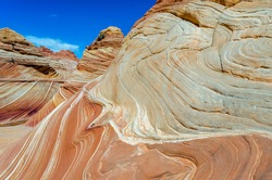 Colorful sandstone strata of The Wave Vermilion Cliffs National Monument Grand Staircase near Coyote Buttes North, Paria, BLM, Kanab, Utah, USA