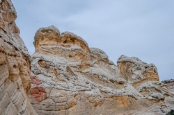 Colorful sandstone strata of White Pocket Vermilion Cliffs National Monument Grand Staircase near Coyote Buttes North, Paria, BLM, Kanab, Utah, USA