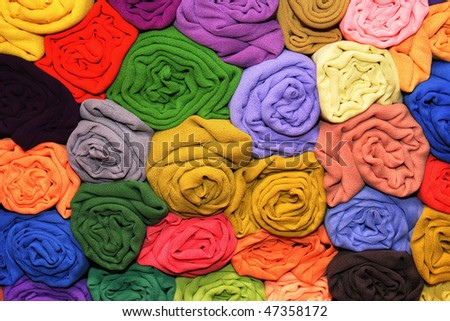 Colorful satin fabric