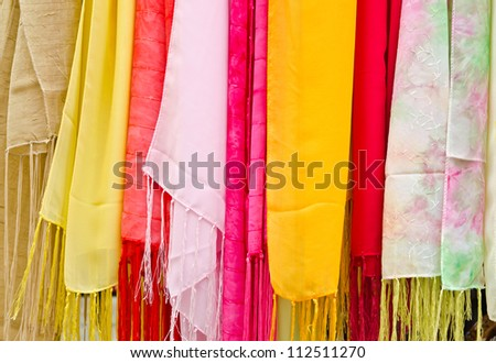 Colorful scarves hanging