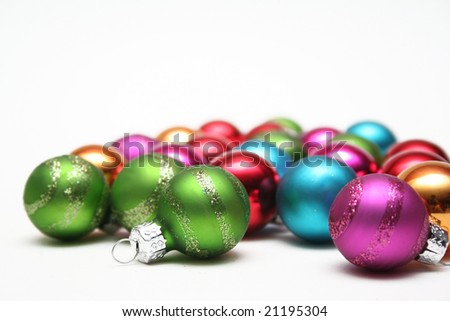 colorful scattered christmas bulb decorations - Christmas Bulb Decorations