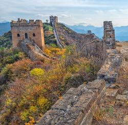 Colorful scenery at the Great Wall of China at Jinshanling