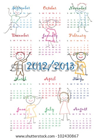 Colorful school calendar on new year school from 2012 to 2013 year - stock photo
