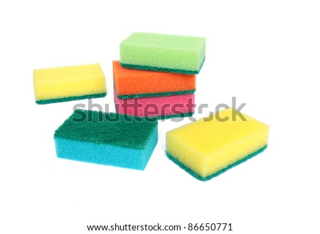 Colorful scourers isolated on a white background.