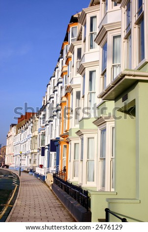 Colorful sea front houses, Aberystwyth, Wales.