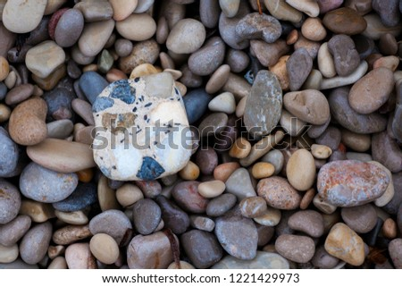 Colorful sea pebbles. Background of sea pebbles. Multicolored stones. Pebble texture. #1221429973