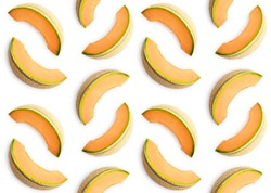 Colorful seamles fruit pattern of melon slices on white background. Top view. Flat lay