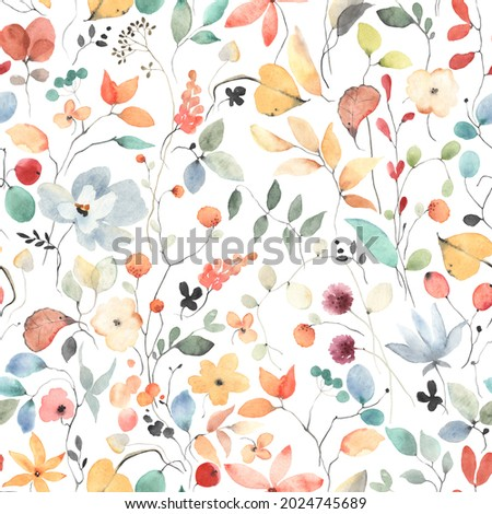 Colorful seamless floral pattern with abstract flowers, leaves and berries. Watercolor print in rustic vintage style, textile or wallpapers in provence style isolated on white background.