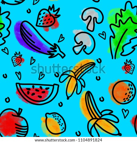 Colorful seamless pattern of doodle fruits and vegetables on blue background. #1104891824