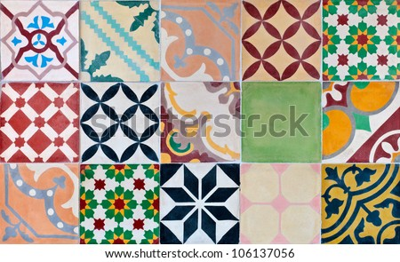 Colorful set of ornamental tiles from Portugal #106137056
