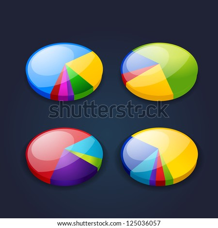 colorful set of pie graphic chart. bitmap version