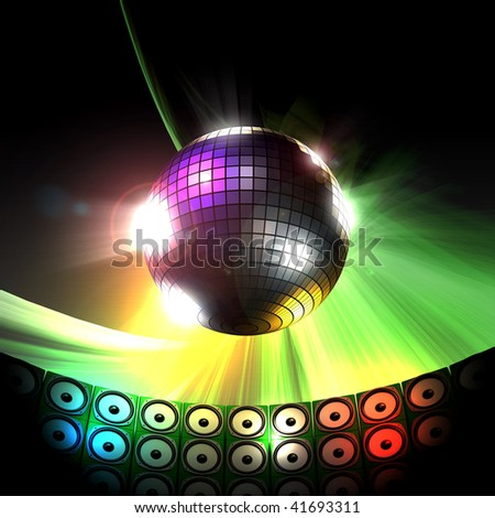 Colorful shimmering disco ball party club illustration