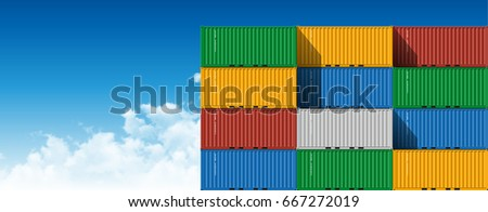 Colorful Shipping Cargo Containers for Logistics and Transportation on Sky Background With Clouds. 3D illustration.
