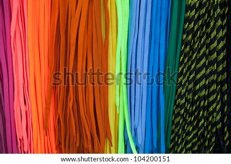Colorful shoe laces bright background