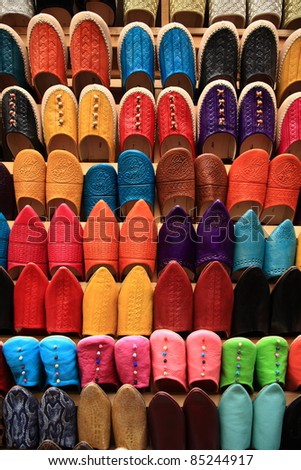 Colorful shoes in Morocco