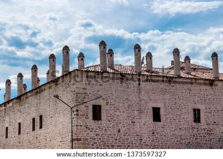 Colorful shoot of old moslem theological school made by masonry stone design in Safranbolu #1373597327