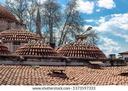 Colorful shoot of old non-well preserved moslem theological school roof in Safranbolu #1373597333
