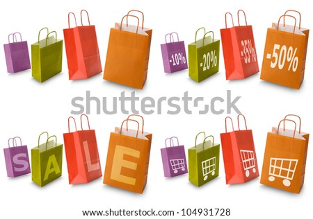 colorful shopping bags with commerce icon collection, isolated on white