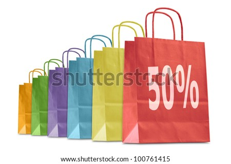 colorful shopping bags with discount icon, isolated on white - stock photo