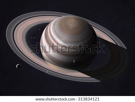 Colorful shot that shows part of Saturn and its rings illuminated sunbeams. Elements of this image furnished by NASA.