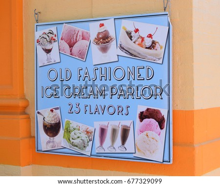 Colorful sign for ice cream parlor #677329099