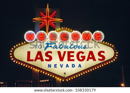 Colorful sign reads ��Welcome to Fabulous Las Vegas, Nevada��.