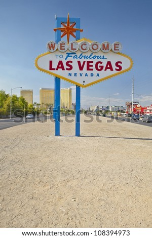 Colorful sign reads �Welcome to Fabulous Las Vegas, Nevada�.