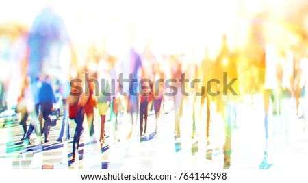Colorful Silhouette of people walking on the street of big city shopping day, big crowd of people walking