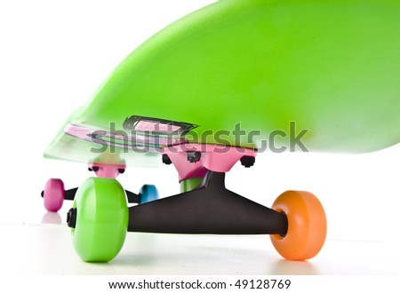 Colorful skateboard isolated on white