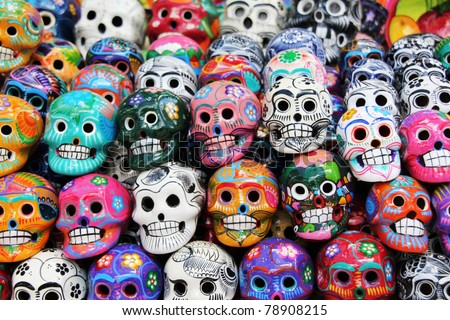 colorful skull from mexican tradition