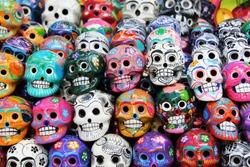 Colorful skull from mexican tradition. Dia de los Muertos