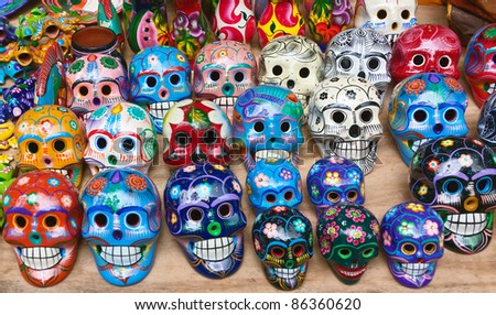 Colorful skull in Cichen Itza from mexican tradition
