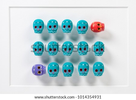 Colorful Skulls Composition with 3D objects over white canvas